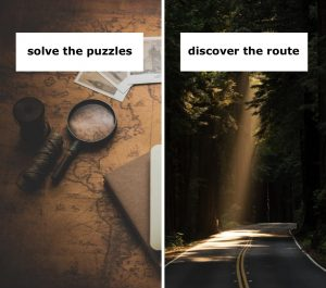 solve puzzles, discover route